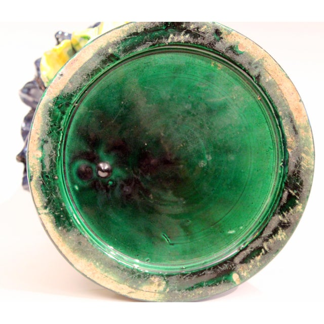 Ceramic Large 1920s Awaji Pottery Antique Applied Irises in Deep Relief Vase For Sale - Image 7 of 13