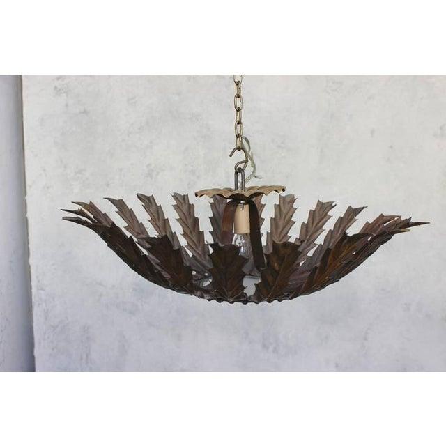 20th Century Spanish Gilt Metal Sunburst Ceiling Fixture - Image 8 of 10