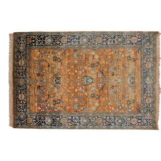 """Vintage Tea Washed Indian Bijar Design Carpet - 6' X 8'9"""" For Sale"""