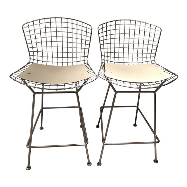 Knoll Harry Bertoia Counter Height Bar Stools W/ Cream Colored Cowhide Seat and Back Pads - a Pair For Sale
