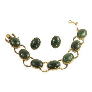 Vintage Swoboda Jade Cabochon Bracelet & Earrings Set For Sale