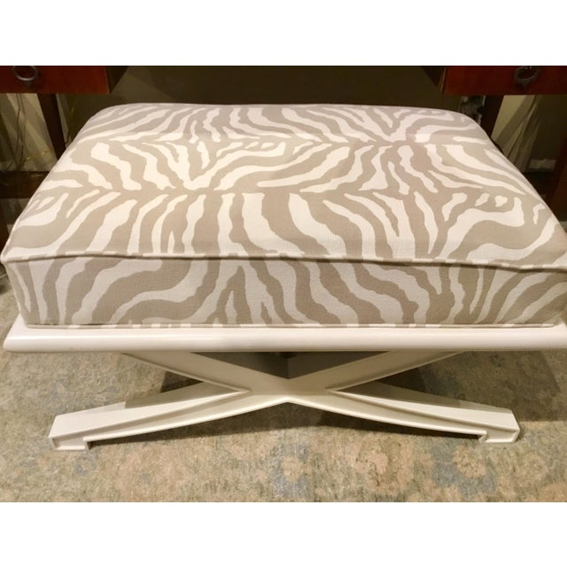 Stylish transitional Vanguard Custom X Bench with a cream finish, taupe and soft cream zebra upholstery, showroom floor...