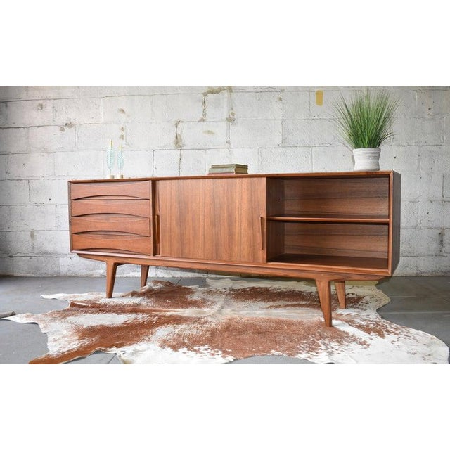 Danish Modern Extra Long Mid Century Modern Teak Sideboard / Credenza For Sale - Image 3 of 11