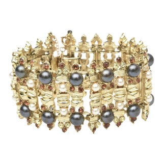 Vintage Gold Plate, Rhinestone and Pearl Cuff Bracelet Signed For Sale