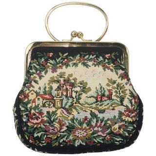 C.1960 Walborg Black Tapestry Handbag With Convertible Ring Handle For Sale