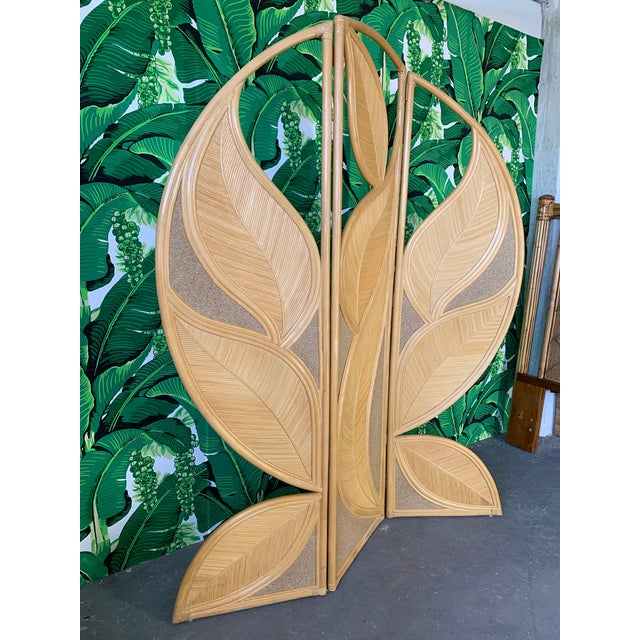 One-of-a-kind rattan leaf-shaped vintage folding screen. Very heavy and sturdy, this unique screen will be your favorite...