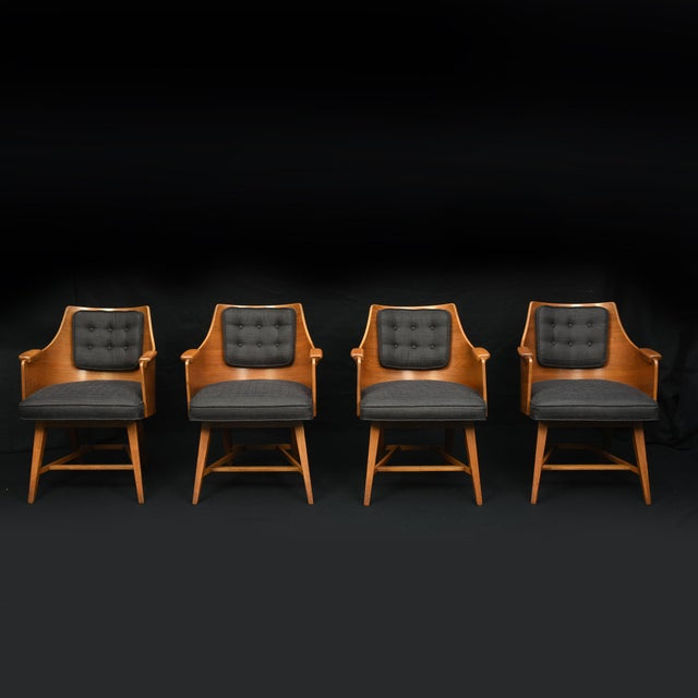 Edward Wormley for Dunbar Chairs, Rare Set of Four, 1950's For Sale In Detroit - Image 6 of 11