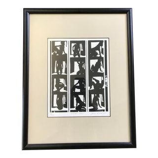 Vintage Mid Century Abstract Nude Woman Block Print Lithograph, Signed For Sale