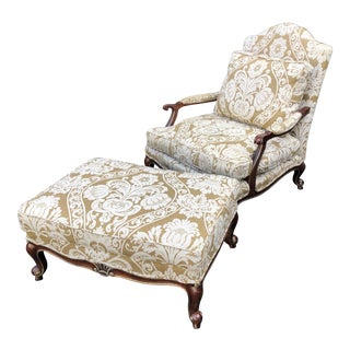 Louis XV Style Baker Furniture Company Oversized Bergere Chair & Ottoman For Sale