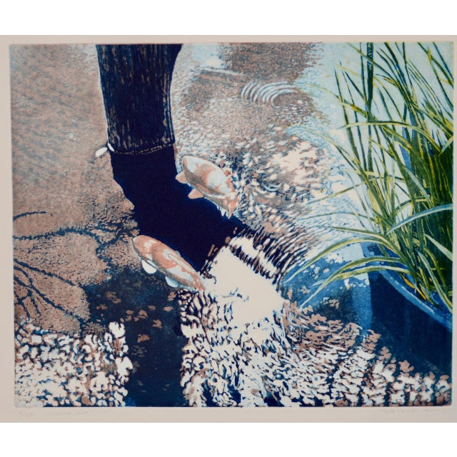 """Vintage Koi Pond """"Second June"""" Etching W/ Aquatint by Thadd Evans C.1986 Beautiful vintage etching with aquatint by Thadd..."""