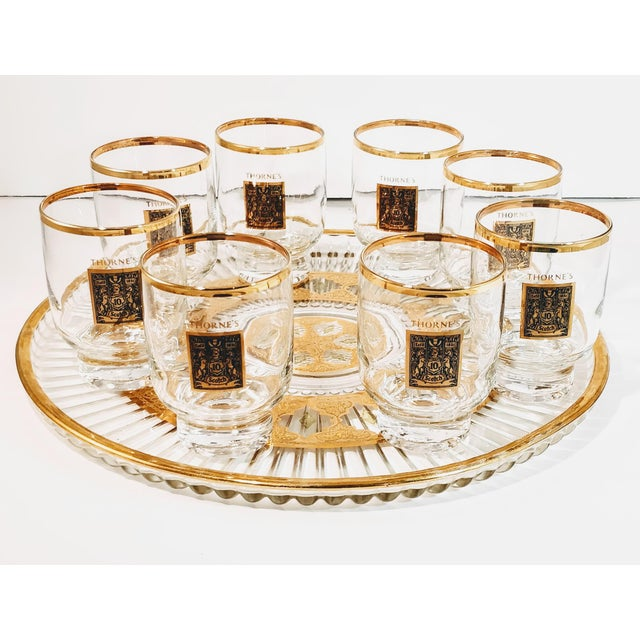 Late 20th Century 1960's Gold Rimmed Thorne Scotch Lowball Glass For Sale - Image 5 of 10