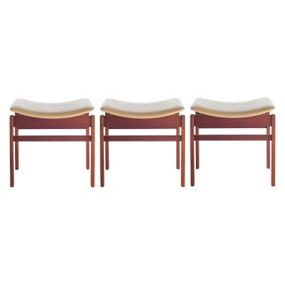 1950's VINTAGE JENS RISOM WALNUT AND LEATHER STOOLS- SET OF 3 For Sale