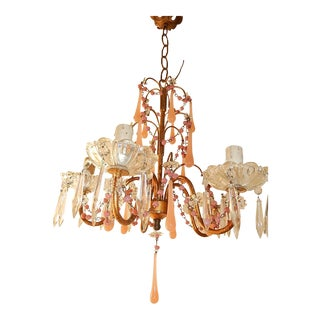 French Pink Opaline Crystal Prisms Chandelier For Sale