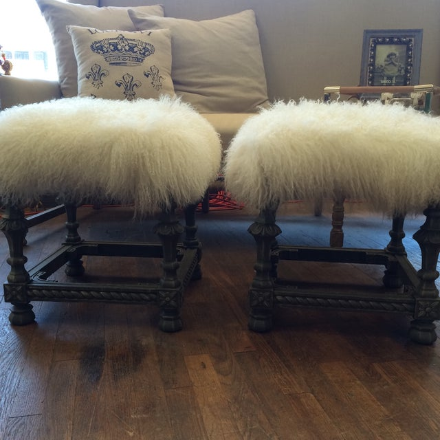 Angora Pelt Footstools - Pair - Image 2 of 6