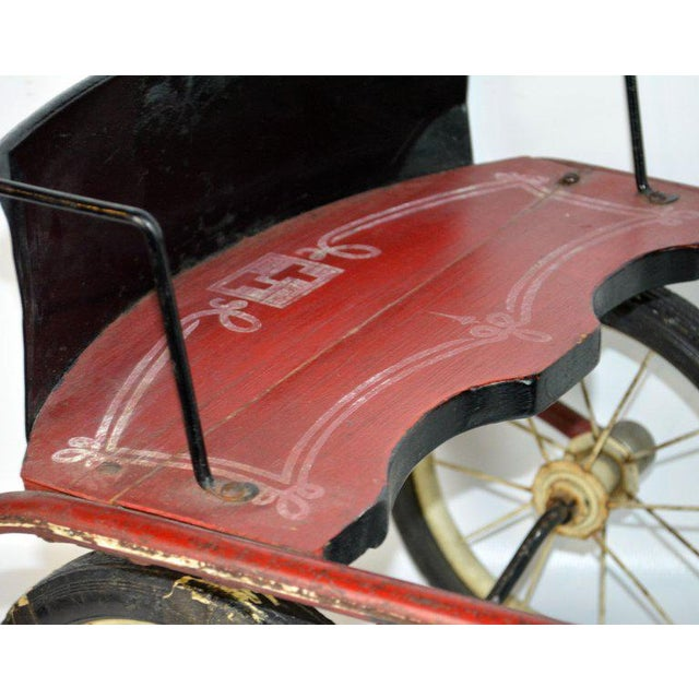 Rare Mid-20th Century Children's Toy Horse Drawn Sulky Style Pedal Tricycle For Sale - Image 10 of 13