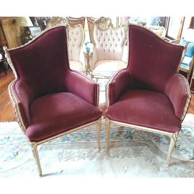 French Provincial Vintage French Provincial Wine Velvet Fireside Accent Chairs- a Pair For Sale - Image 3 of 3