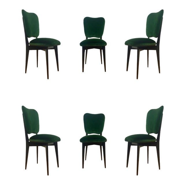 1960s Mid-Century Modern Green Upholstered Dining Chairs - Set of 6 For Sale