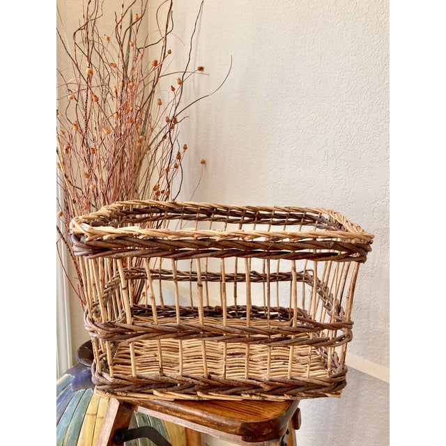 Crisscross Open Weave Handwoven Rattan & Willow Basket by Three Hands - Circa 1990 For Sale - Image 13 of 13