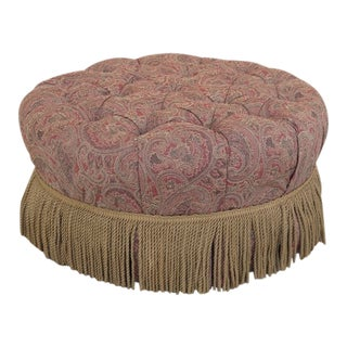 Century Round Tufted Upholstered Large Ottoman For Sale