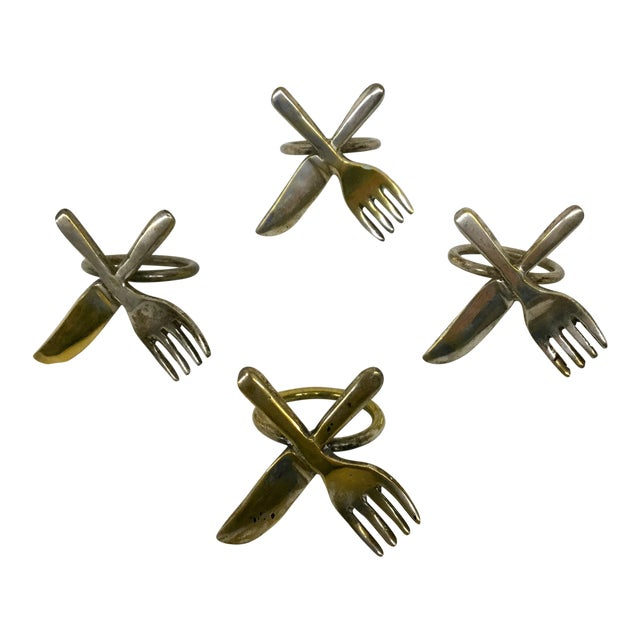 Vintage Brass Plate Napkin Rings - Set of 4 For Sale