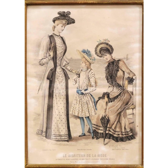 """19th Century French Color Women Fashion Prints Framed Dated 1890 """"Set of Five"""" For Sale - Image 4 of 13"""