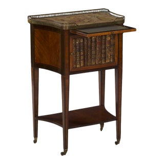 19th Century French Antique Writing Stand Accent Table W/ Book-Spine Door For Sale
