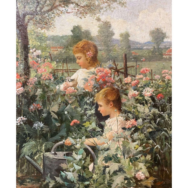 This sweet antique oil on canvas painting was created circa 1880. Signed on the lower right corner by the artist, Jean...