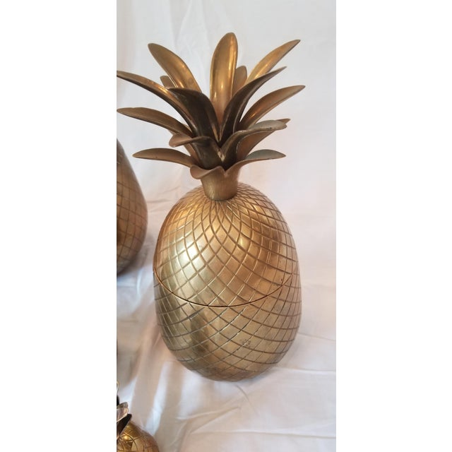 1970s Vintage Brass Pineapples - Set of 4 For Sale - Image 4 of 8