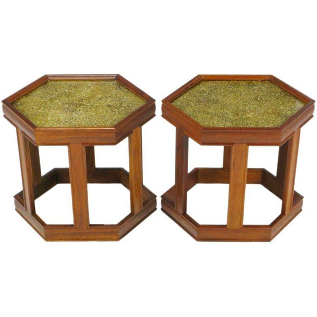 Pair Brown Saltman Walnut & Reverse Painted Glass Side Tables For Sale - Image 9 of 9