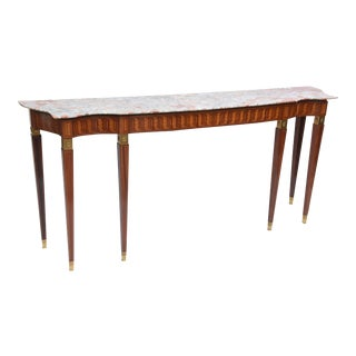 Italian Modern Inlaid Walnut, Bronze-Mounted and Marble Console by Paolo Buffa For Sale