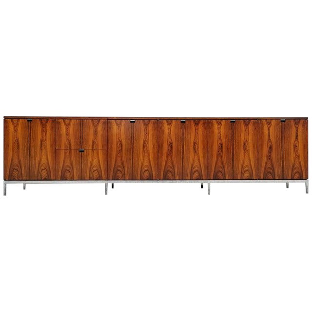 Custom Bookmatched Brazilian Rosewood Florence Knoll Media Cabinet For Sale
