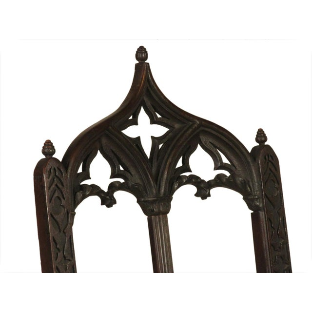 Brown 19th Century. Vintage Gothic Dining Chairs - Set of 8 For Sale - Image 8 of 12