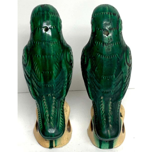 Ceramic Pair of Chinese Export Porcelain Green Glazed Parrots For Sale - Image 7 of 12