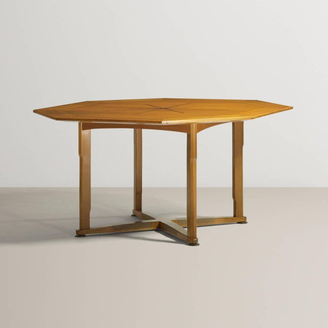 Wormley for Dunbar, Janus game table, model #5721. Octagonal top with inlay parquetry starburst rosewood inlay, leather...
