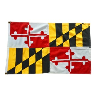 Vintage Maryland State Flag in Cotton For Sale