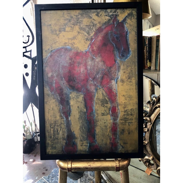Hearting Horses. Pair of Decorator Dramatic Figurative Reverse-Color Framed Horse Prints Bold, dramatic and full of life....