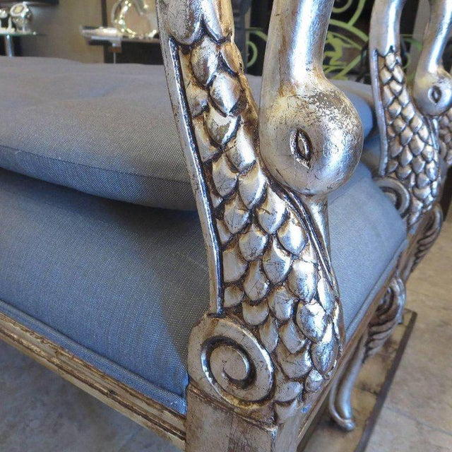 Hollywood Regency Daybed With Carved and Gilded Swans For Sale - Image 4 of 7