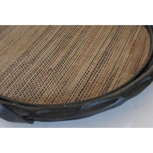 Tribal Extra-Large Palecek Carved Wood Tray With Grass Cloth Insert For Sale - Image 3 of 7