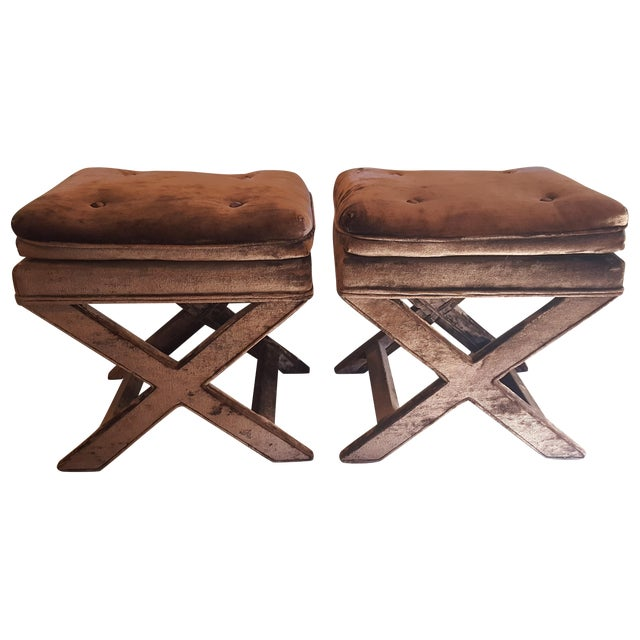 Brown Velvet X-Base Benches - A Pair - Image 1 of 4