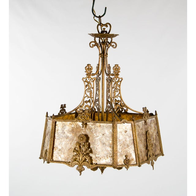 Victorian Style Mica 4 Light Chandelier For Sale - Image 13 of 13
