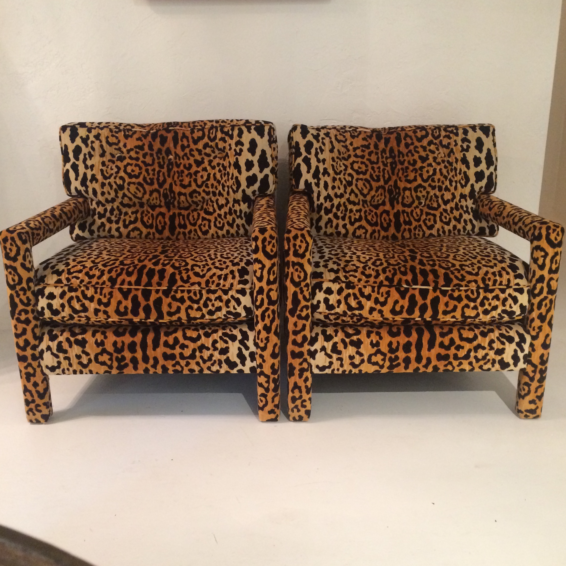 Milo Baughman Style Leopard Print Club Chairs   A Pair   Image 2 Of 10