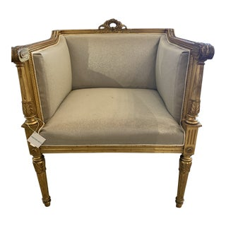 1940s Gilded Louis XVI Chair in Meic Beaded Fabric For Sale