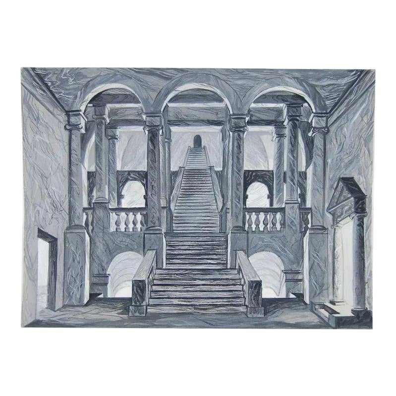 Neoclassical Architectural Stage Scenic Design Staircase Painting By Andre Delfau Chairish