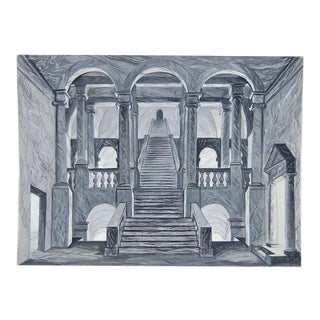 Neoclassical Architectural Stage Scenic Design Staircase Painting by Andre Delfau For Sale