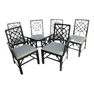 Fretwork Chinese Chippendale Dining Chairs - Set of 6 For Sale