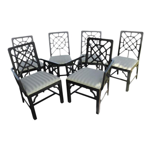 Fretwork Chinese Chippendale Dining Chairs - Set of 6 - Image 1 of 10
