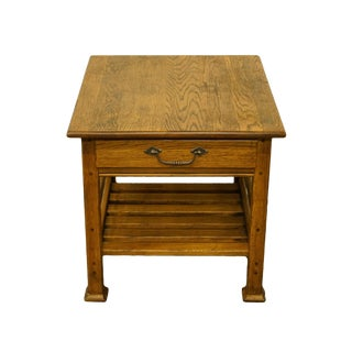Country Lexington Furniture Solid Oak Accent Table For Sale