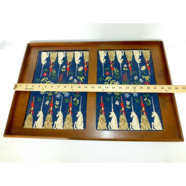 Mid-Century Framed Needlepoint Embroidered Backgammon Board Game Lions Unicorns Floral For Sale In Denver - Image 6 of 9