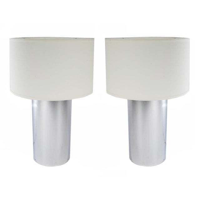 Pair of Large Chrome Cylinder Lamps by George Kovacs, Circa 1970s For Sale - Image 10 of 10