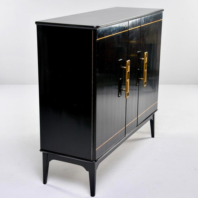 Two-door Swedish cabinet has a new, professionally applied ebonized finish and two hinged doors, circa 1950s. Inside, one...